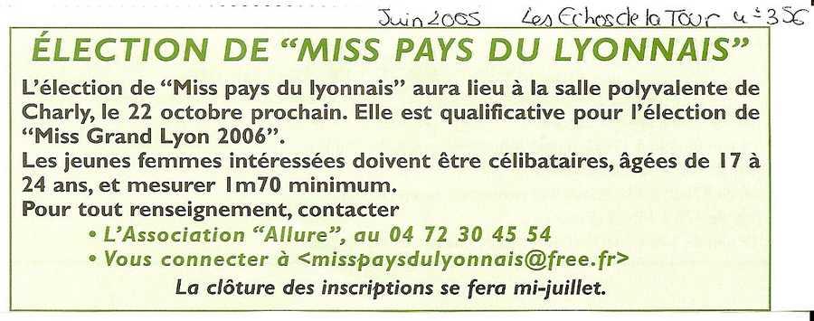 Election Miss Pays du Lyonnais