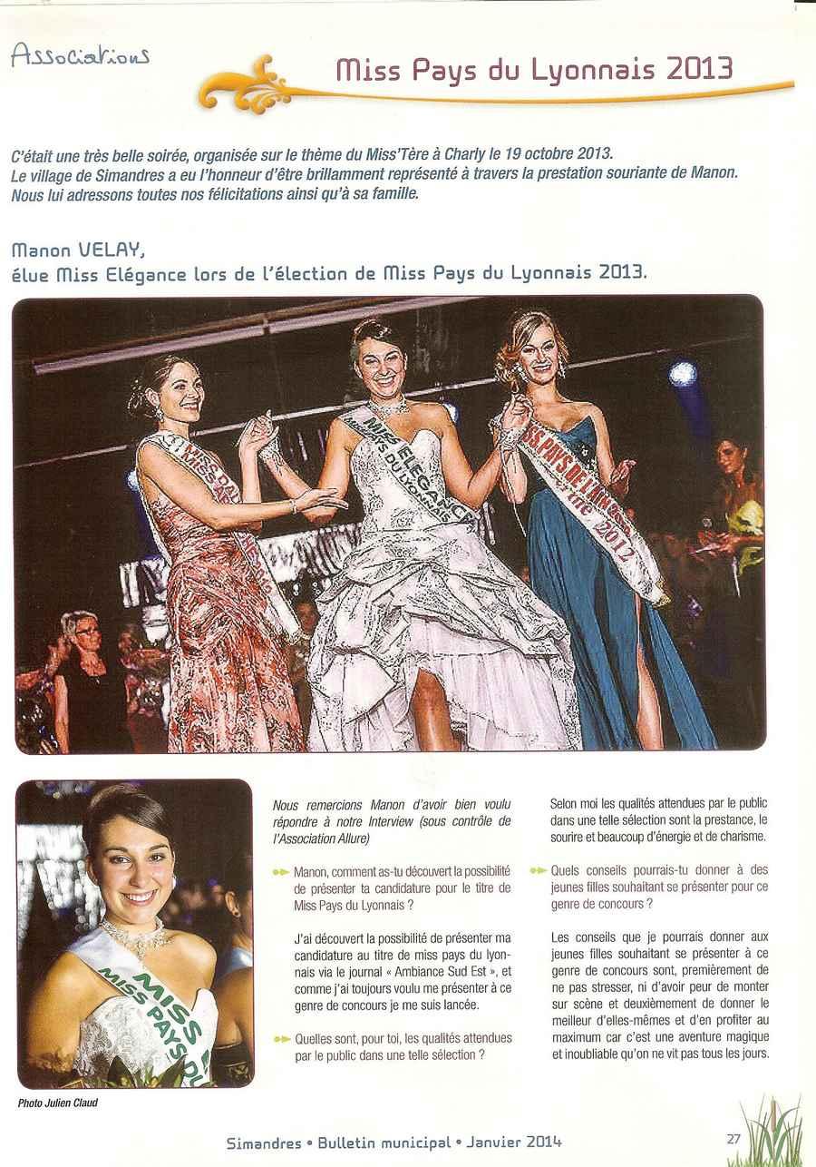 Miss Pays du Lyonnais 2013
