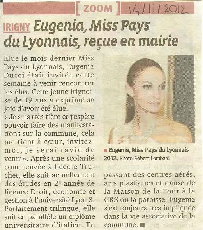 Eugenia Miss PL reçue en mairie