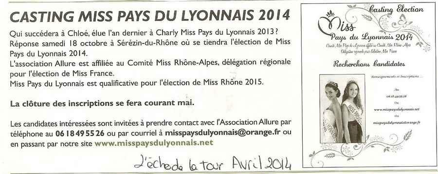 Casting Miss Pays du Lyonnais 2014