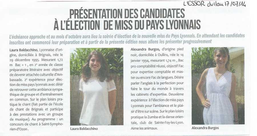Presentation des Candidates a l'election de Miss Pays du Lyonnais
