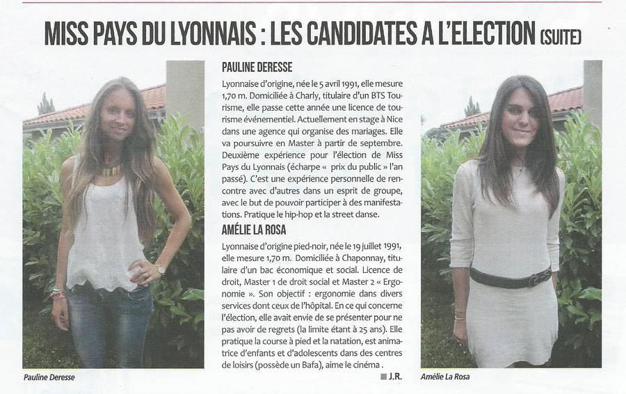 Miss Pays du Lyonnais les candidates à l'élection (suite) Reprise