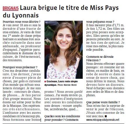 Laura brigue le titre de Miss Pays du Lyonnais