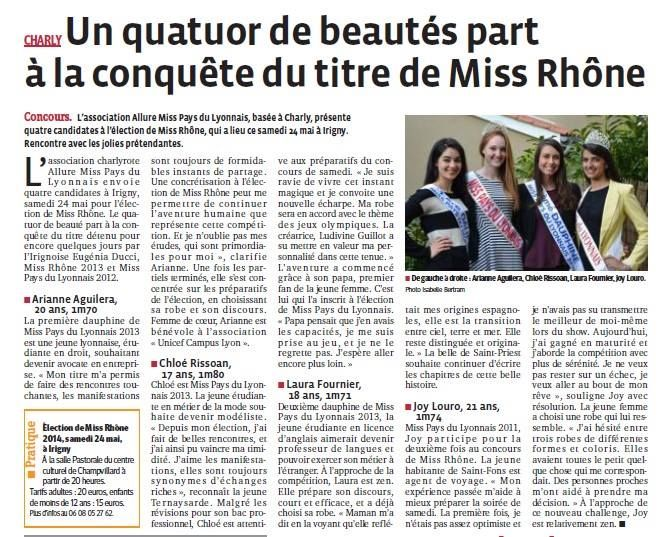 Un quator de beautés part à la conquête du titre de miss Rhône