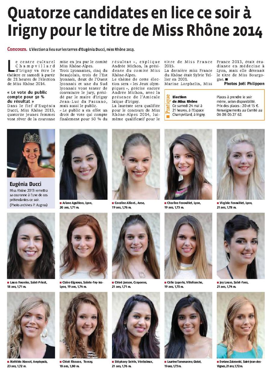 Quatorze candidates en lice ce soir à Irigny pour le titre de Miss Rhône 2014