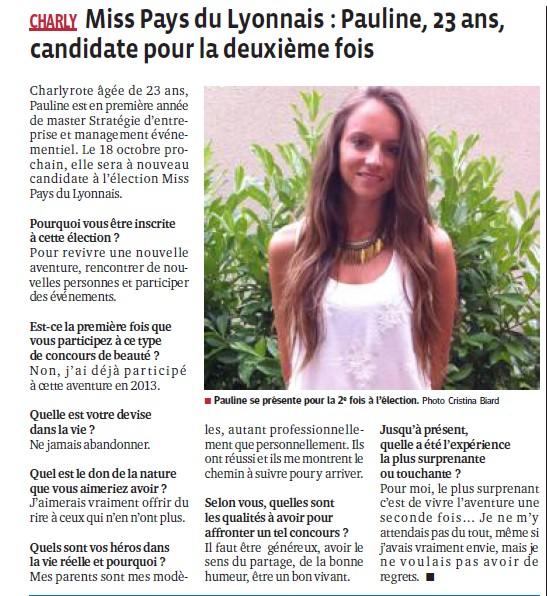 Miss Pays du Lyonnais Pauline 23 ans candidate pour la 2ème fois