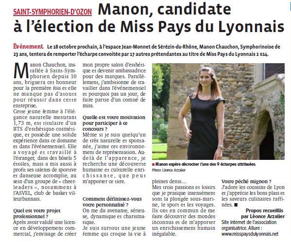 Manon candidate à l'élection de Miss PL