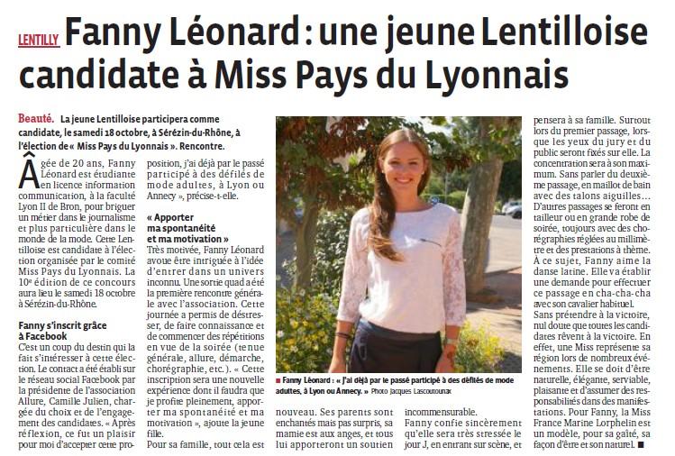 Fanny Léonard une jeune lentilloise candidate à Miss Pays du Lyonnais