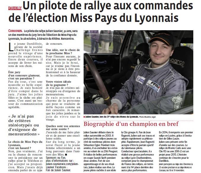 Un pilote de rallye aux commandes de l'élection Miss PL