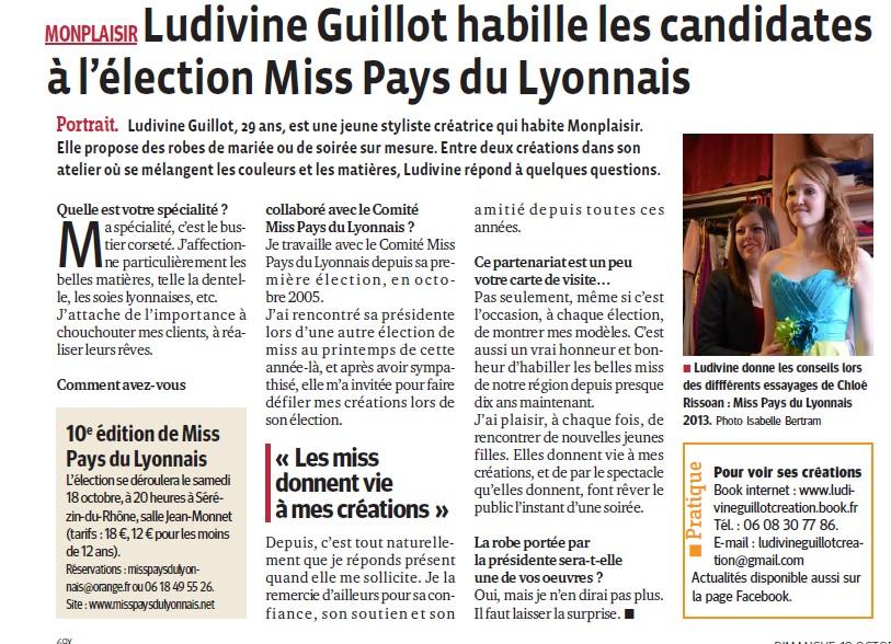 Ludivine GUILLOT habille les candidates à l'élection de Miss PL