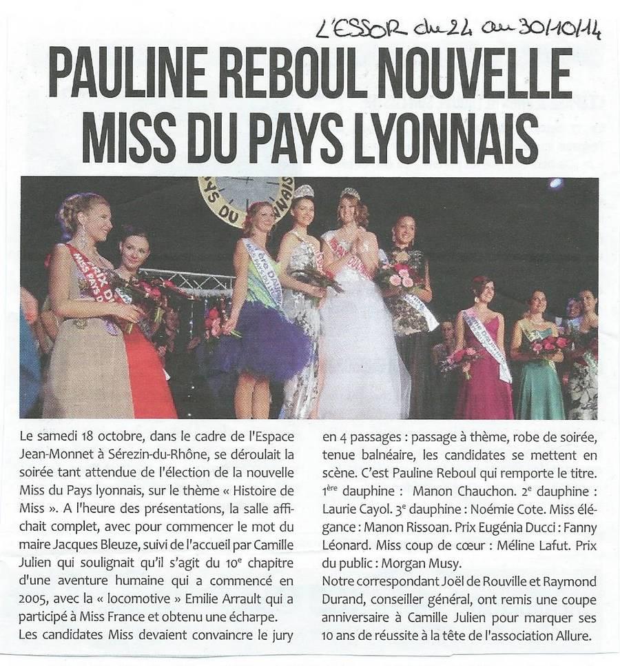 Pauline R nouvelle Miss du Pays Lyonnais