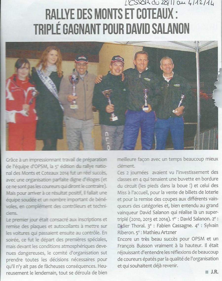 Rallye des Monts et Coteaux Triplé gagnant pour David Salanon