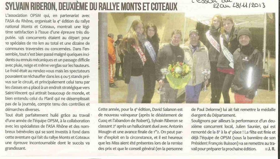 114 Sylvain Riberon deuxieme du rallye Monts et Coteaux