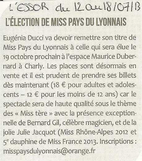 L'élection de Miss Pays du Lyonnais